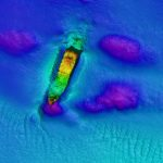 Multicoloured scan of the JANVOLD on the sea bed