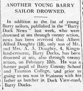 Erthygl yn y Barry Dock News